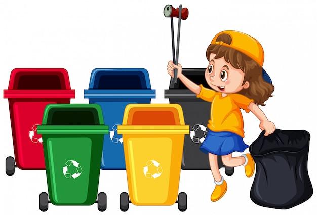 Dziewczyna zbierająca śmieci i czyszczenie
