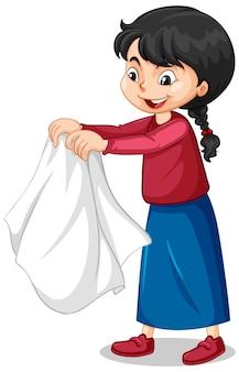 Dziewczyna zdejmująca płaszcz postać z kreskówki