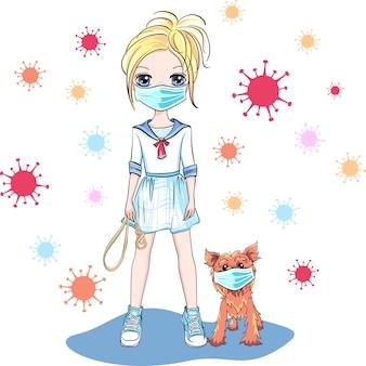 Dziewczynka chodzić psa na kwarantannie