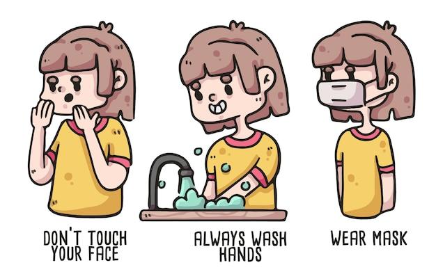 Dziewczynka covid-19 odpowiednia higiena ilustracja