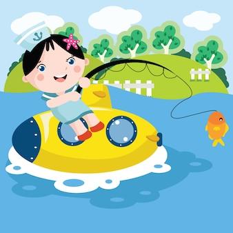 Dziewczynka ilustracja kreskówka połowów