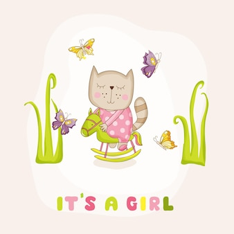 Dziewczynka kot na karcie przyjazdu konia