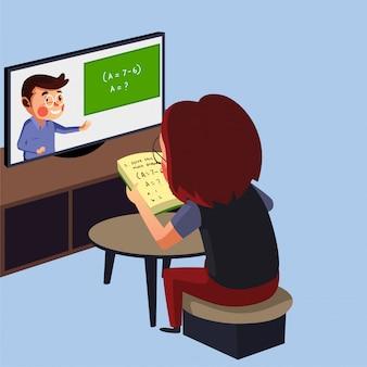 Dziewczynka ma zajęcia online ze swoim nauczycielem