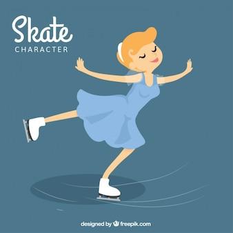 Dziewczynka na łyżwach na lodzie