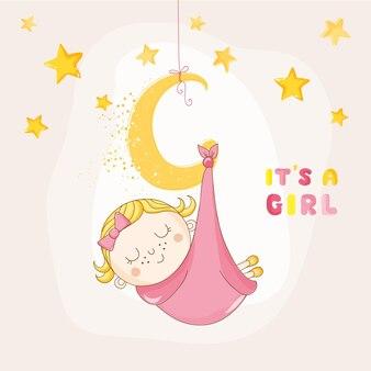 Dziewczynka śpiąca na księżycu