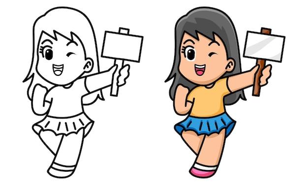 Dziewczynka trzymająca białą tablicę kolorowanka dla dzieci