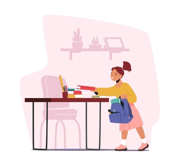 Dziewczynka umieścić studia dostaw i podręczników w plecaku. postać studenta z książką w ręku przygotuj się do nauki w college'u. powrót do szkoły, koncepcja edukacji. ilustracja wektorowa kreskówka ludzie