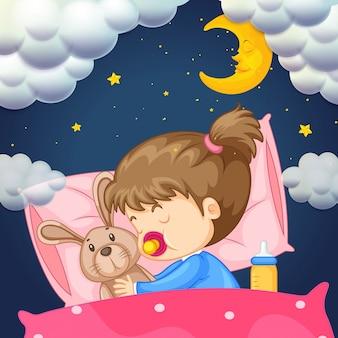 Dziewczynka w łóżku w nocy