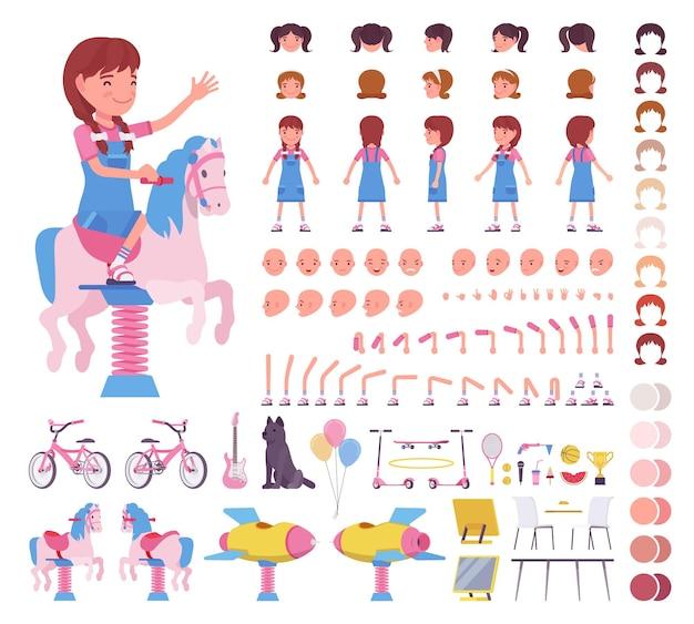 Dziewczynka w wieku 7, 9 lat, zestaw konstrukcyjny dla dzieci w wieku szkolnym, aktywna uczennica w letnim stroju, zabawy i elementy tworzenia zajęć do zbudowania własnego projektu