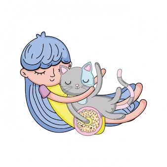 Dziewczynka z kotem kawaii znaków