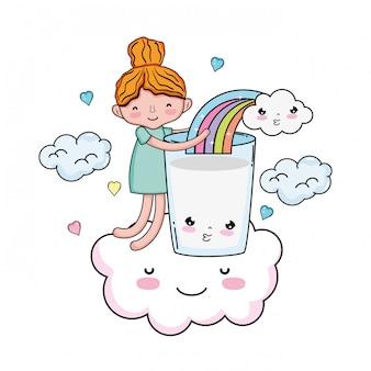 Dziewczynka z mleka i tęczy kawaii znaków