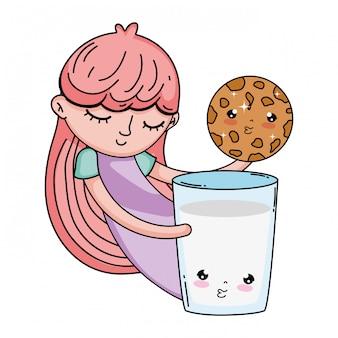 Dziewczynka z mlekiem i ciasteczka kawaii znaków