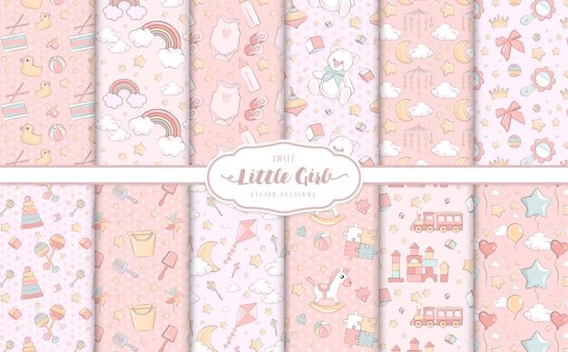 Dziewczynki różowe wzory