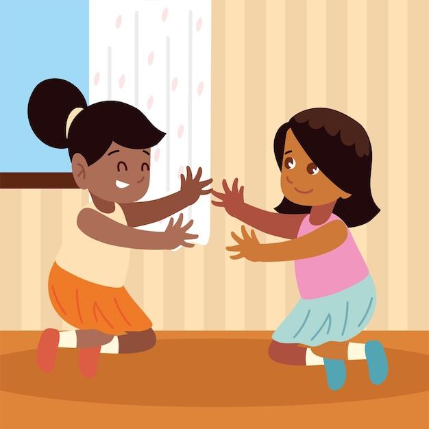 Dziewczyny bawiące się w domu