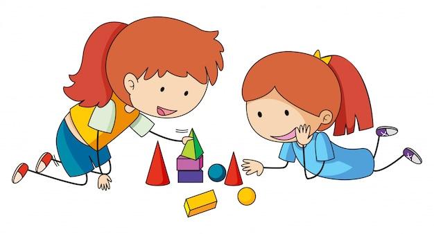 Dziewczyny bawiące się zabawkami blokowymi