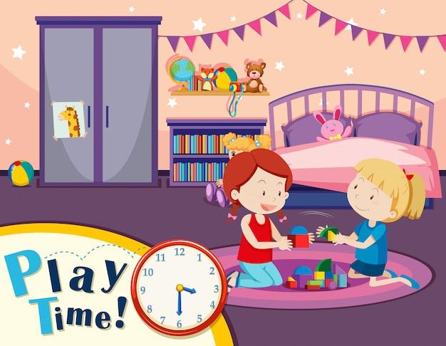 Dziewczyny Bawiące Się Zabawki W Sypialni Premium Wektorów