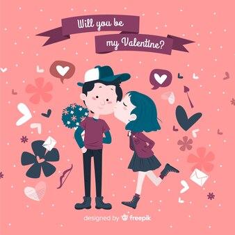 Dziewczyny całowania chłopiec valentine dnia tło