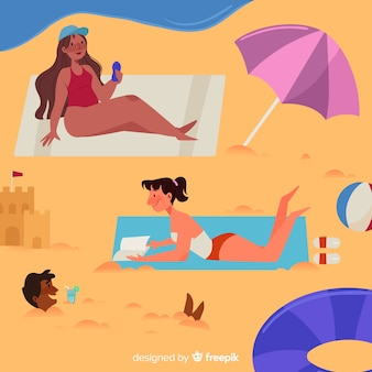 Dziewczyny cieszą się latem na plaży