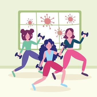 Dziewczyny ćwiczy w domu