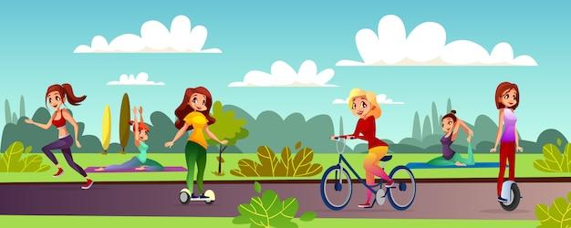 Dziewczyny czasu wolnego ilustracja młode kobiety rekreacyjne w plenerowym parku.