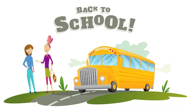 Dziewczyny czekają na transport. klasyczny amerykański autobus starej szkoły. powrót do szkoły. jeździć na drodze. bezpłatne przejazdy. kolor szkolny baner