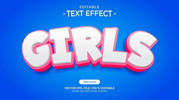 Dziewczyny edytowalne efekty tekstowe