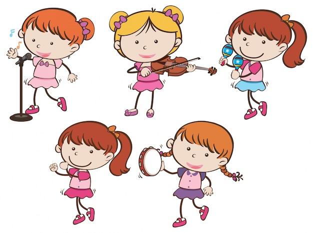Dziewczyny grające na różnych instrumentach