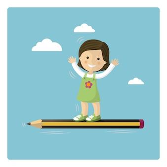 Dziewczyny latanie w ołówku przez nieba