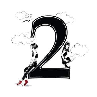 Dziewczyny moda w stylu szkic z numerem dwa. ilustracja wektorowa.