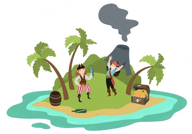 Dziewczyny piraci na pustynnej tropikalnej wyspie