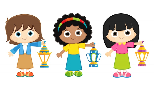 Dziewczyny świętują ramadan i noszą latarnie