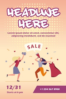 Dziewczyny świętują sprzedaż w szablonie ulotki sklepu mody