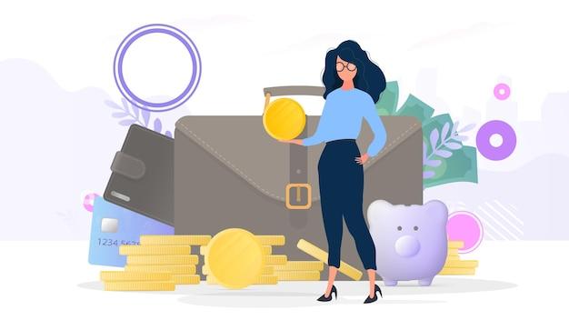 Dziewczyny trzyma złotą monetę. góra monet, teczka biznesowa, karta kredytowa, dolary. pojęcie oszczędności i akumulacji pieniędzy. nadaje się do prezentacji i artykułów biznesowych.