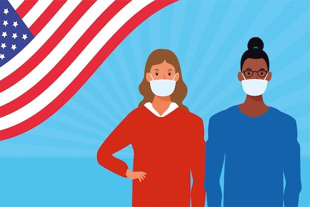 Dziewczyny używające masek na twarz z flagą usa
