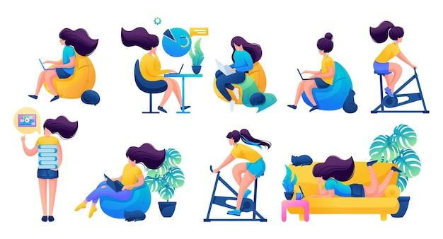 Dziewczyny w domu zajmują się sportem, treningiem, pracą, freelancerem.