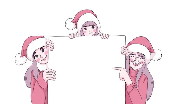 Dziewczyny w ilustracji bożego narodzenia