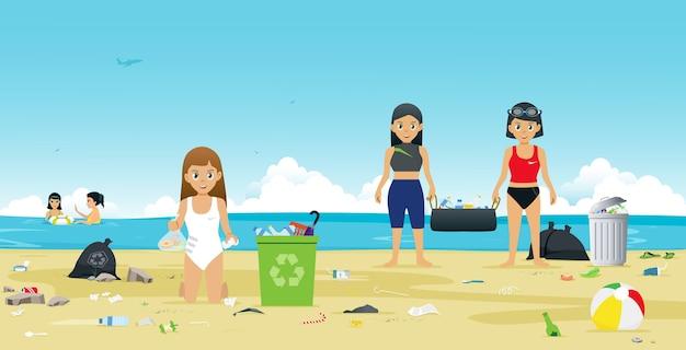 Dziewczyny w strojach kąpielowych pomagają zbierać śmieci na plaży