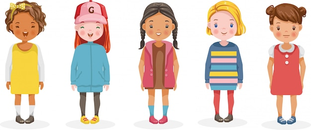 Dziewczyny wektor zestaw dzieci. kreskówka różnych i różnych grup etnicznych.