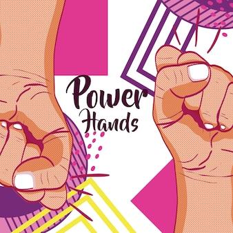 Dziewczyny władzy memphis stylu wektorowy ilustracyjny graficzny projekt