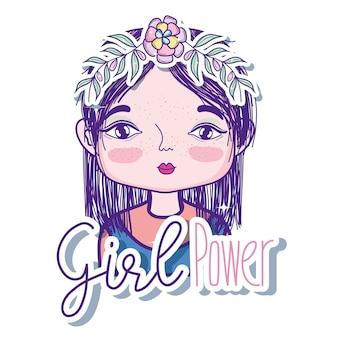 Dziewczyny władzy wiadomość z śliczną kobiety kreskówką