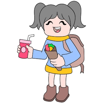 Dziewczyny wracają do domu ze szkoły zatrzymują się, aby kupić jedzenie kebabów i napojów bezalkoholowych, ilustracji wektorowych sztuki. doodle ikona obrazu kawaii.