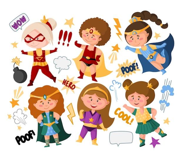 Dziewczyny z kreskówek superbohaterów w super kostiumach, dymki, znaki, zestaw na białym tle