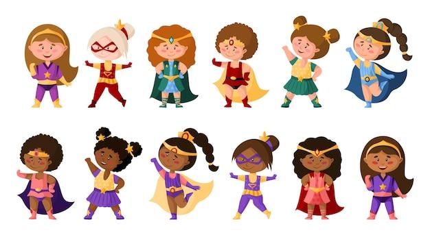 Dziewczyny z kreskówek superbohaterów w super kostiumach, słodkie afrykańskie amerykańskie postacie kobiece izolowane clipart na białym tle, superbohaterowie komiksów dziewczynki, dziecinna ilustracja zestaw