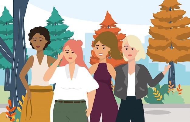 Dziewczyny z modnymi ubraniami i fryzurą