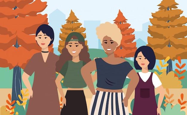 Dziewczyny z nowoczesnymi ubraniami i fryzurą