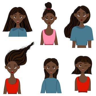 Dziewczyny z różnymi wyrazami twarzy i emocjami. styl kreskówki. ilustracji wektorowych.