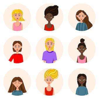 Dziewczyny z różnymi wyrazami twarzy i emocjami. styl kreskówki.