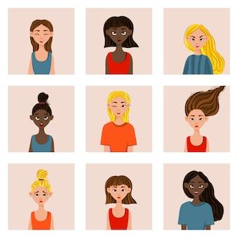 Dziewczyny z różnymi wyrazami twarzy i emocjami. styl kreskówkowy. ilustracja.