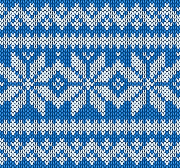 Dziewiarski bezszwowy deseniowy tło z płatkami śniegu wektorowymi