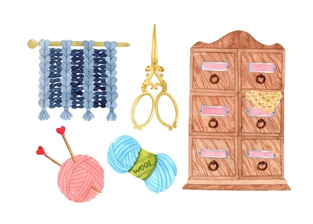Dziewiarskie ręcznie wykonane elementy akwareli